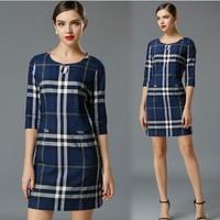 XL-XXXXL Brand 2015 Spring Summer Ladies Blue Plaid Print Dress Half Sleeve Formal Dresses Women Office Work dress Big Size 4XL
