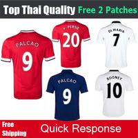 2015 Man DI MARIA MATA Rooney FALCAO v. Persie Giggs nani 14 15 football shirt soccer jerseys united custom name Free shipping