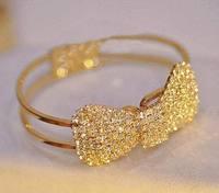 AB057 New Brand Wholesale Bracelet Jewelry Charm Crystal Bowknot For Women Fashion Gold Plating Bracelets