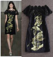 2015 European and American fashion new, big brand quality dresses, lotus leaf collar printing dress ,Lady/Women dresses