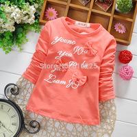 New 2015 Children Spring Clothes Girls' T-shirts Letter Pattern Baby Girls Long Sleeve T-shirt Children Tees Kids Top Wear
