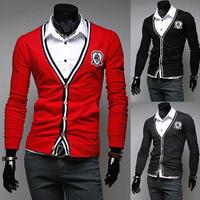 Black Red Gray Stylish Mens Cardigan V-Neck Knit Cardigan Casual Sweater Coats