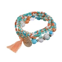 Min. order is 9 usd (can mix) Fashion Shamballa Tassel Pendant Colorful Beads Bracelet Jewelry For Women Charm Bracelet