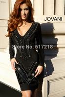 Free Shipping Fashion Sheath V Neck Long Sleeve Short Cocktail Dress Crystal Women/Prom Dress/Homecoming Dresses