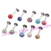 Crystal Gem Labret TragusLip Ring Stud Bar Body Piercing 4mm ball Shambhala Resin16Gauge 6mm 8mm 10mm 30pcs /lot Wholesale