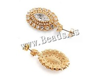 Free shipping!!!Crystal Earrings,christmas, Zinc Alloy, with Crystal, stainless steel post pin, Flat Oval, plated