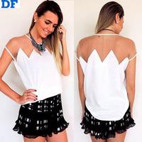 Loose Chiffon Blouse Blusas Femininas White Casual Women Tops Organza Patchwork Women Blouses Shirt Roupas Femininas Promotion!!
