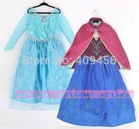 Shipment soon top grade 2015 Elsa Anna costume princess dress sequined costume Long Sleeve Diamond Dresses girls dress 10pcs/lot