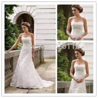 LD0352 Elegant White Summer dress 2014 A-line Strapless Lace Wedding Dresses Beaded Brush Train Women Vestido de noiva 2014_BRID