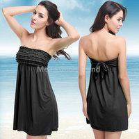 2015 Summer Holiday Seaside Beach Bathe Swimsuit Sexy Push up Chest Wrapped Petal Fold Bikini Swimwear Dresses Vestido de praia