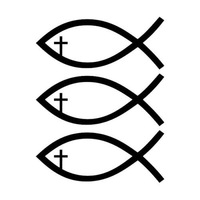 3X Jesus Fish Christian Cross Die Cut Car Window Vinyl Decal Sticker