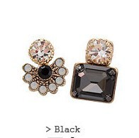 Luxury Black / Peach Synthetic Gemstone Rhinestone Flower Square Two Way Earrings Statement women 2015 Asymmetric Unique Design