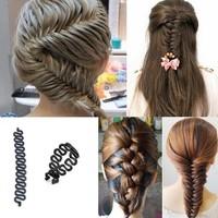 1X  Women Girls Hair Braiding Tool Roller Magic Twist Styling Bun Maker Locks Weaves