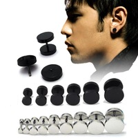 HOT Fashion Men Barbell Punk Gothic Stainless Steel Ear Studs Fashion Earrings Black and Silver