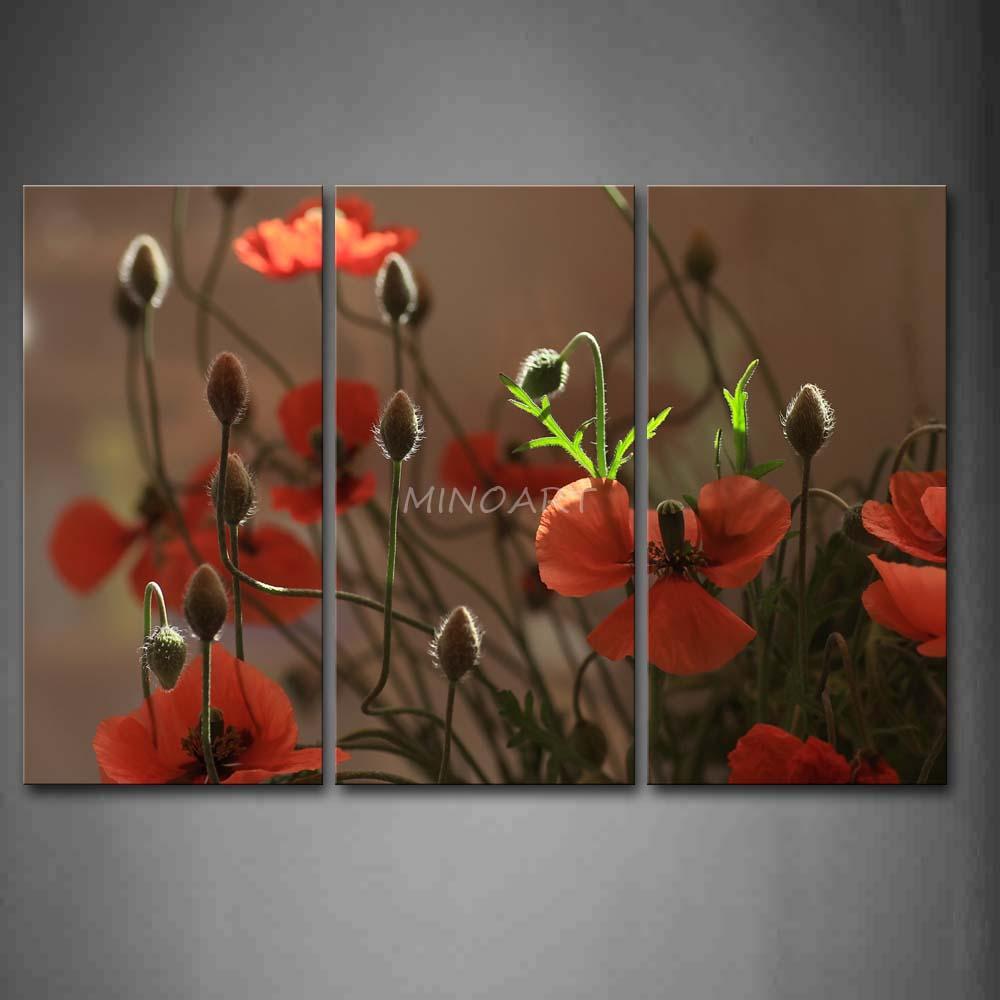 3 peça Wall Art pintura Red Poppys e botões com folhas imagem de impressão na lona flor 4 , o imagem Home Decor impressões petróleo(China (Mainland))