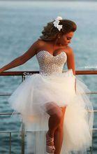Wd093 abito da sposa anteriore corto molto indietro a- linea senza spalline tesoro perle al collo tulle abiti da sposa bianco corto(China (Mainland))