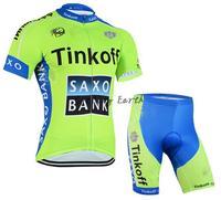 New arrive! SAXO BANK 2015 #2 short sleeve cycling jersey shorts set bike wear clothes jerseys pants,silicone pad,free shipping!