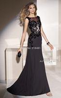 Sexy Elegant  A-line Floor Length Black Lace Sequins Beading Scoop Sleeveless Evening Prom Dresses 2015