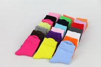 12pcs/lot  Children's Cute Candy Color Cotton Socks For Baby Girls And Boys 2015 Autumn Winter Kids Solid In Tube Socks