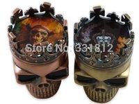 Ornate Brass Tone Crowned Skeleton Skull Design  Magnetic Pocket Spice Pollen Grinder