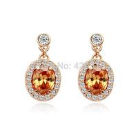 Orange Crystal 18K Rose Gold Plated Earring Genuine Austrian Crystal Wholesale