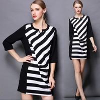 XL-4XL Brand 2015 Spring Elegant Ladies Stripe Print 3/4 Sleeve Draped Designers Casual Dresses Plus Size Women Clothing XXXXL
