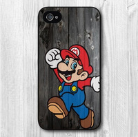 Super Mario On Wood Protective Hard Cover Case For iPhone 4 4s 4g