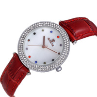 Colorful Crystal 2035 Movement Skone Quartz Watches Women PU Leather Band Wristwatch Dress Watch SK-9365