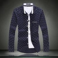 Men Shirt Brand New 2015 Plus Size Europe America Casual shirt 5XL 4XL 3XL Anchor Print Mens Cotton Dress Shirts