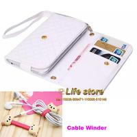 Mobile Phone Case Leather Pouch Wallet Hand Case +earphone cable winder For Lenovo Lemon K30-T K3 S580 Lenovo Vibe X2 S850 S660