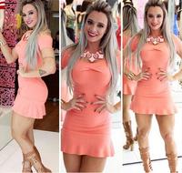 Hot Sale S M L XL Ruffles Lace Sexy Slash-neck Slim Solid Women Dress Clubwear Patry Dresses Sexy Mini Dress Work Dress