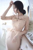 Fashion 2015 Spring Summer Elegant Rhinestones Beaded Embroidery Dresses Women Ruffles Casual Women MIDI Dress vestido femininas