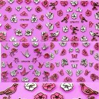 50 sheets 3D Design Beauty DIY Metallic Flowers Birds Tip Nail Art Sticker Nails Decal Manicure DIY nail tools #XF6159-6182