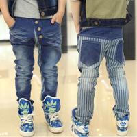 Aones Boys Denim Pants Autumn Full Length Kids Jeans Boy Clothes Elastic Waist Stripe Children's Pants Fashion Sweatpant P108