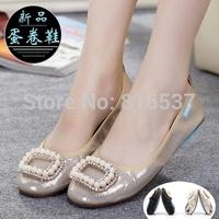 Flat women's shoes Pearl clasp flat shoes Pregnant women shoes cone Super comfortable shoes