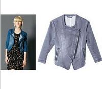 2015 fashion show's good quality Gray Denim short slim zipper jacket  women