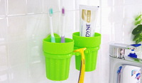 Greative Trends Multi-function Toothbrush Gargle Cup Conveninet Sucker PP Bathroom Sets For Lover`s New Fashions Random Delivery