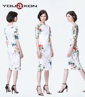 1332 YouAxon Fashion Ladies Summer Vintage Elegant Floral Print Cocktail Party Prom Bodycon Mini Dresses for Women a+ Dress