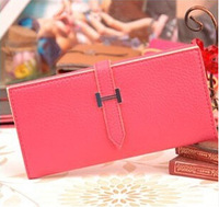 New Casual Pu Leather Long Women Wallet 3 Folded Magnetic buckle Litchi Female Purse for Lady Girl Free shipping 3107