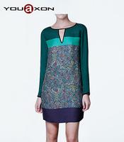 1187 YouAxon Ladies Casual Elegant Vintage Ethic Totem Printed Green Long Sleeve Mini Dresses for Women a+ Dress