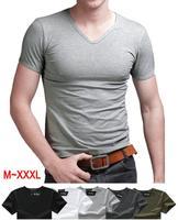 Big Sale 2015 New Summer Sport Casual Men Tshirt Solid Color V Neck Short Sleeve T-shirts T Shirt for Man Clothes