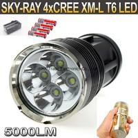 20sets,SKY RAY KING 4xT6 4xCree XM-L T6 5000 Lumens 3-Mode LED Flashlight Torch Lamp+4pcs 18650 battery+1pcs charger