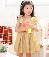 girls gold/siliver  dress,kids party sparkle  dress,TTT012