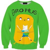 Sws0115  New Arrivai Europe Hot Digital Printing Adventure time Bro Hug O-Neck Pullover Hoodies Sweatshirts 3D