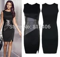 hot sale 2015 new fashion Women Casual Slim dress Patchwork Leather Pencil OL Sleeveless Sexy Summer Dresses DD27006