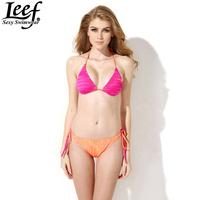 LEEF New Arrival Rose Orange Gradient Swimwear Women Sexy Push Up Padded Swimsuit Beachwear Bikini Sexy Biquini Free Shipping