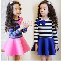 Hot Sale 2015 New Brand Kid Fashion Dresses For Girls Long Sleeve Cotton Stripe Children Dresses With Bow Girls Princess Dress