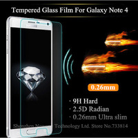 Top Quality Tempered glass screen protector for Samsung Galaxy Note 4 Note4 N9100 clear protective film With retail package PY