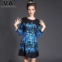 VA Brand Women Casual Spring Print Blue Mini Dress 2015 New O-Neck A line Plus Size Dresses Clothing vestidos femininos P00142