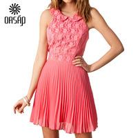 OASAP Women Pink Flower Lace Pleated Chiffon Dress  Cute Pink Summer Vestido De Festa Free Shipping